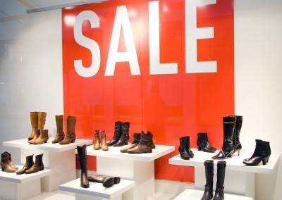 Shoe Store Window In Sale Season. Shopping Series.