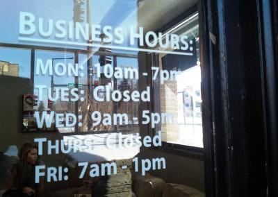 Outdoor sign sample Hours of Operation