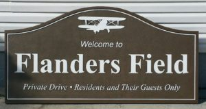 Sandblasted HDU sign for Flanders Field, Lakeland, FL