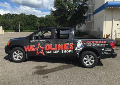 Headlines Barber Shop Truck Wrap