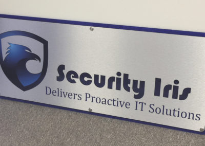 Security Iris Routed Lobby Sign