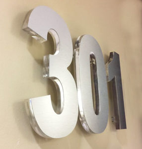 Routed Acrylic Numbers with Brushed Aluminum Face