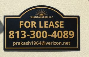 Real Estate lease custom routed sign, office