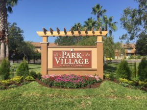 Outdoor routed monument sign for Park Village