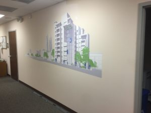 Removable wall graphics for office space.